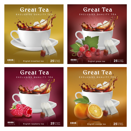 Set of tea packaging design. A cup with a splash and various additives. Vector illustration.