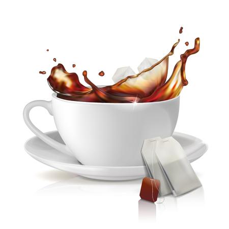 White cup on a saucer. Tea splash of tea. A pack of fragrant tea. Vector illustration on white background.