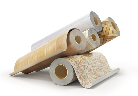 Rolls of linoleum with different texture on a white. 3d illustration Banque d'images