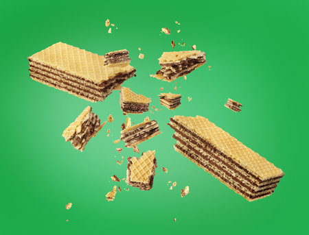Waffles broken in half