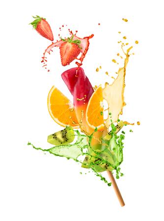 Frozen juice with fruit and juice splash Foto de archivo
