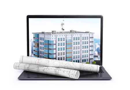 laptop, on which is located a multi-storey building and rolls with drawings. 3d illustration Stock Photo