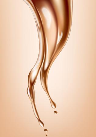 Liquid foundation elements. Splashing beige liquid, flow of creamy texture isolated on background. Vector realistic illustration Vector Illustratie