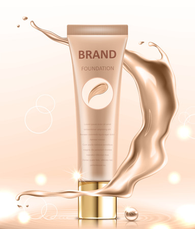 Cosmetic package design, blank foundation tube mockup for design uses in complexion color tone. Realistic vector illustration