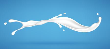 Splash of milk or cream isolated on blue background. Realistic vector illustration