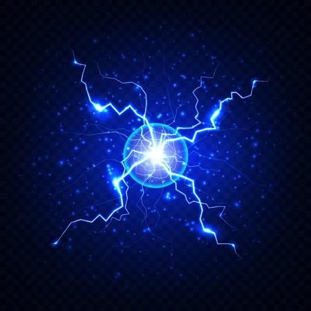 Niebieski elektryczny błysk błyskawicy na ciemnym przezroczystym tle. Realistyczna błyskawica z okręgu wektorowego