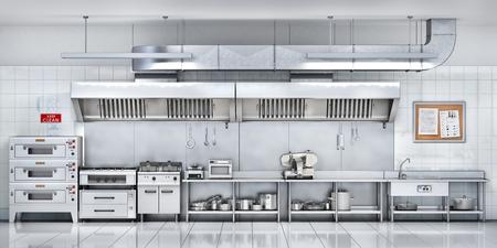 Cucina industriale. Cucina del ristorante. illustrazione 3D