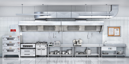 Industrial kitchen. Restaurant kitchen. 3d illustration Stock Photo