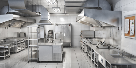 Industrial kitchen. Restaurant kitchen. 3d illustration 스톡 콘텐츠