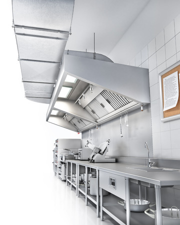 Industrial kitchen. Restaurant kitchen on a white backgrount. 3d illustration