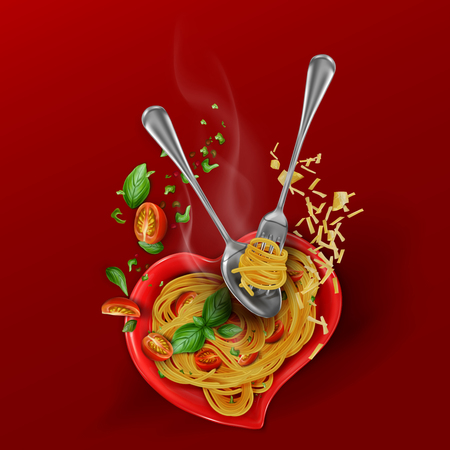 Recipe for cooking pasta. Hot spaghetti with cherry tomatoes, basil, parmesan cheese. Beautiful flying composition on a heart shaped plate. 3d vector illustration on red background. Ilustração