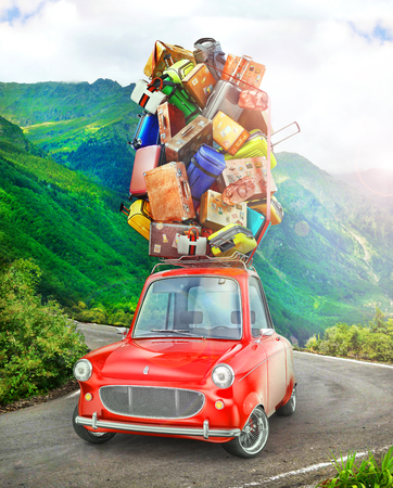 Travel concept. Red vintage car with travel suitcases on the roof. 3d illustration Foto de archivo - 118423033