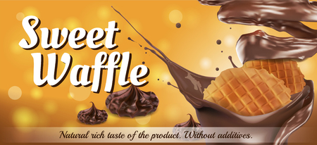Waffle with sprinkles of chocolate sauce on an orange background. Label design. Vector realistic illustration.