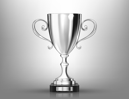 Champion silver trophy on gray background. Realistic vector illustration