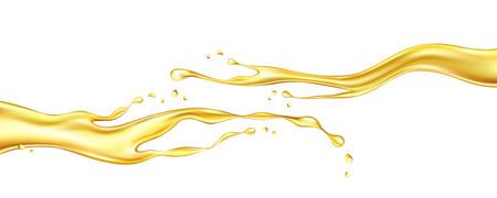 Ölspritzen isoliert auf weißem Hintergrund. Realistische Vektorillustration