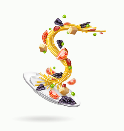 Vector illustration on a white background, pasta with vegetables and cheese
