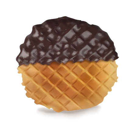Delicious waffles in chocolate sauce. Vector realistic illustration on white background. Ilustração