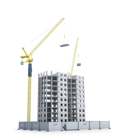 New construction of a multi-storey building with fencing, construction crane. 3d illustration
