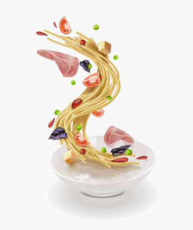 OU vector illustration of pasta and slice ham with vegetables Illustration