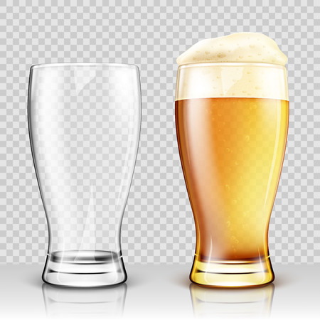 Vector glass of beer on a transparent background