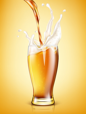 Beer is pouring into a glass. Realistic vector illustration