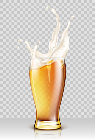 Glass with splashing beer isolated on transparent background Ilustracja