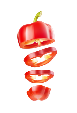 Red bell pepper sliced in rings, flying in the air. Vector realistic illustration isolated on white background.