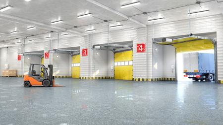 Hangar interior with gates. 3d illustration