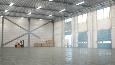 Hangar interior with gates. 3d illustration