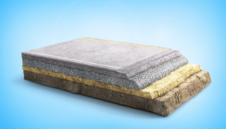 Road coat structure. Piece of road with layers. 3d illustration