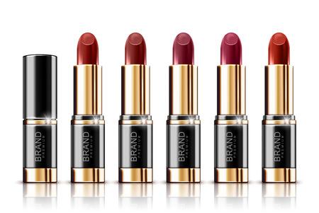 Set of lipstick isolated on white background Illustration