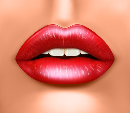 Close up view of beautiful woman lips with red lipstick