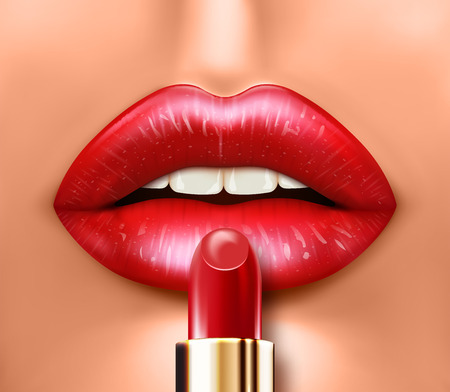 Face close up mouth with beautiful lipstick. Realistic vector illustration Illustration
