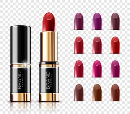 Realistic vector lipstick assortment set with glossy colors isolated on transparent background. Set of color lipsticks