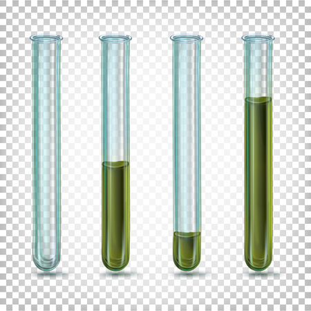 Laboratory glass tubes with dark dirty green liquid of different amounts.