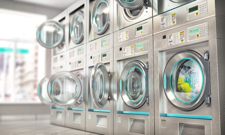 Laundry. Industrial washing machines in the laundry. 3d illustration Reklamní fotografie