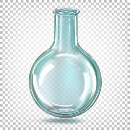 Kolba laboratoryjna okrągłodenna szklana. Ilustracja wektorowa na przezroczystym tle.