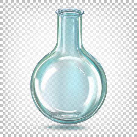 Laboratory flask round bottom glass. Vector illustration on a transparent background.