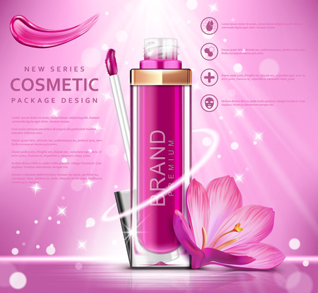 Fashion lipstick ads. Trendy cosmetic design for advertisement. Vector illustration