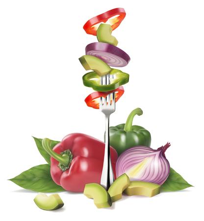 Composizione da verdure fresche. Tagliare le verdure su una forchetta con le verdure intere. Illustrazione realistica di vettore isolato su priorità bassa bianca.