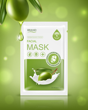 Facial sheet mask sachet package. Vector realistic illustration isolated on green background. Beauty product packaging design templates