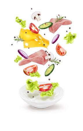 Ilustración de vector de setas de carne de queso de ensalada de pepino en un plato blanco Ilustración de vector