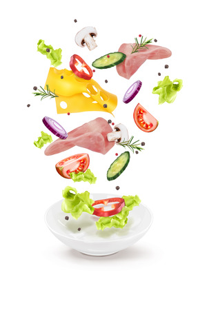 Vector illustration of a cucumber salad cheese meat mushrooms in a white plate 向量圖像