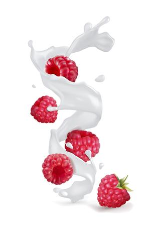 Raspberry berries with a splash of yogurt or milk. Vector realistic illustration on white background. Illusztráció