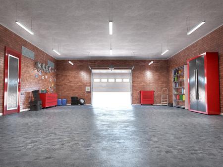 Garage with rolling gate interior. 3d illustration Banque d'images - 120415428