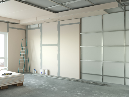 drywall installation in the appartment repair 3d illustration Banco de Imagens