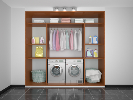 Laundry in the pantry. Washer and dryer. 3d illustration