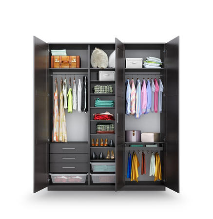 Dressing room. Open closet made of dark wood, clothes. Closet compartment. 3d illustration