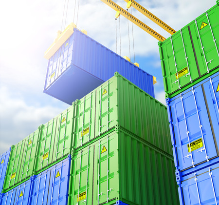 Industrial Container yard for Logistic Import Export business. 3d illustrations