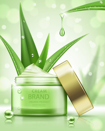 Cosmetic ads template, cream jar with aloe vera isolated on bokeh background. Realistic vector illustration  イラスト・ベクター素材